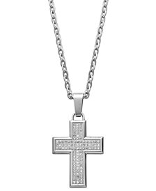 Men's Diamond Cross Pendant Necklace in Stainless Steel (1/3 ct. t.w.)