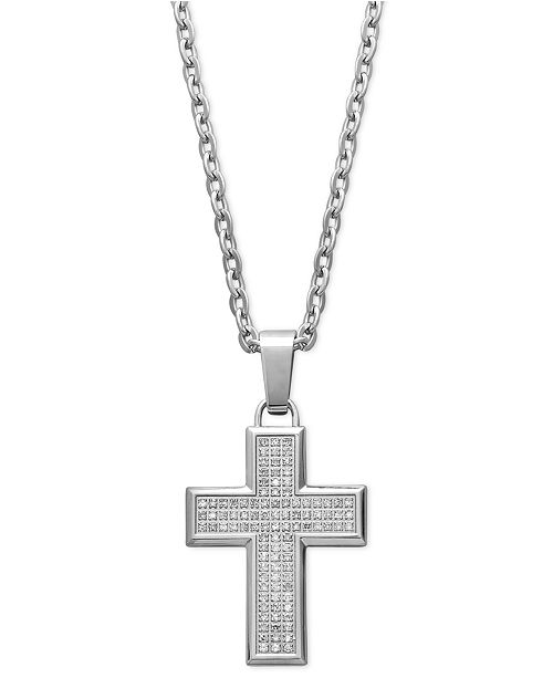 Macy S Men S Diamond Cross Pendant Necklace In Stainless Steel 1 3 Ct T W Reviews Necklaces Jewelry Watches Macy S
