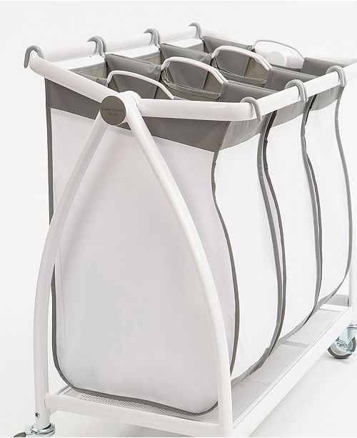 Seville Classics Premium 3 Bag Heavy Duty Tilt Laundry