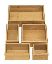 Bamboo Storage Box Drawer Organizer 5 Piece Set
