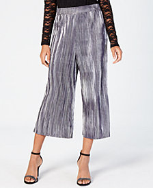 Material Girl Juniors' Pleated Metallic Crop Pants, Created for Macy's