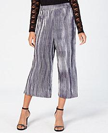 Material Girl Juniors' Pleated Metallic Crop Pants, Created for Macy's