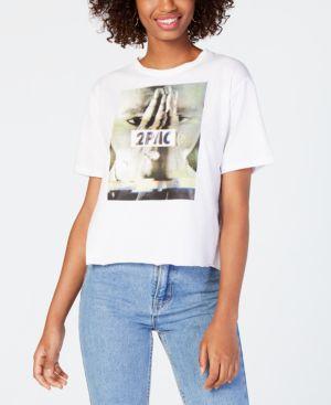 BRAVADO Juniors' Tupac Graphic Print Cotton T-Shirt in White