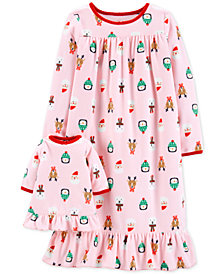 Carter's Toddler Girls Holiday-Print Nightgown with Doll Nightgown