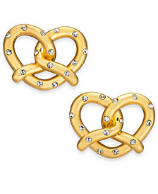 kate spade new york Gold-Tone Pavé Pretzel Stud Earrings