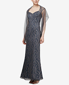 SL Fashions Sweetheart Embellished Illusion Gown & Shawl