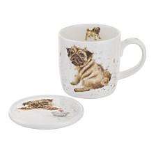 "Royal Worcester Wrendale 11 oz Pug Mug & Coaster ""Pug Love"""