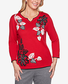 Alfred Dunner Sutton Place Floral-Appliqué Split-Neck Sweater
