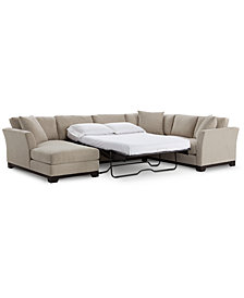 Elliot Ii 138 Fabric 3 Piece Chaise Sleeper Sectional