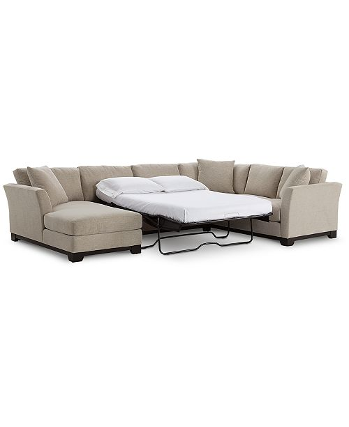 Fabric 3 Piece Chaise Sleeper Sectional