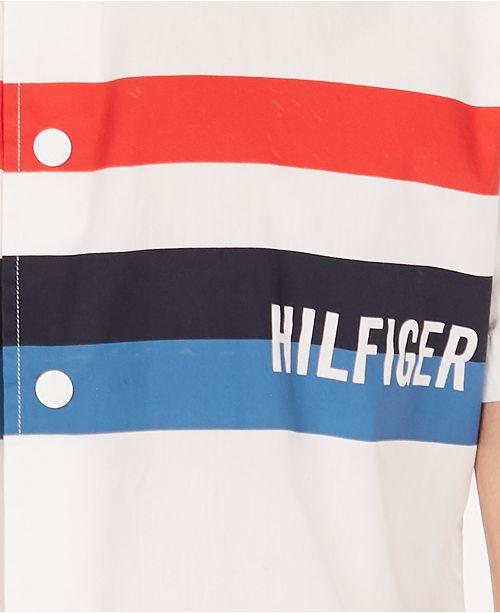 460ee9e0 Tommy Hilfiger Men's Jerry Classic-Fit Stripe Logo Poplin Shirt ...