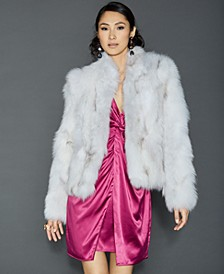 Pieced Fox Fur Cropped Jacket