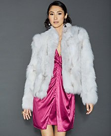 The Fur Vault Pieced Fox Fur Cropped Jacket