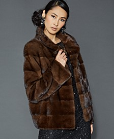 Stand-Collar Mink Fur Jacket
