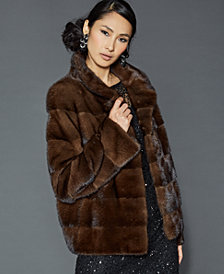 The Fur Vault Stand-Collar Mink Fur Jacket