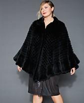 262bb73979c The Fur Vault Plus Size Knitted Rabbit Fur Poncho