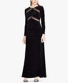 Lauren Ralph Lauren Lace-Trim Velvet Gown