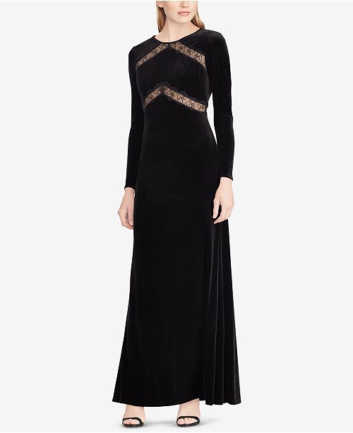 bda13f1ce6d Lauren Ralph Lauren Lace-Trim Velvet Gown   Reviews - Dresses ...