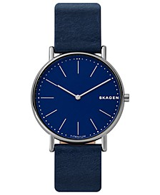 Men's Signatur Navy Blue Leather Strap Watch 40mm