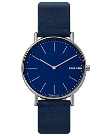 Skagen Men's Signatur Navy Blue Leather Strap Watch 40mm