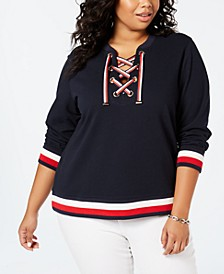 Plus Size Lace-Up Sweatshirt, Created for Macy's