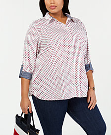 Tommy Hilfiger Plus Size Cotton Star-Print Shirt, Created for Macy's