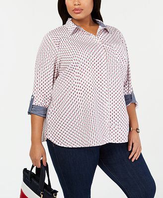 Tommy Hilfiger Plus Size Cotton Star Print Shirt Created For Macy S