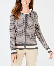 Charter Club Patterned Cardigan Sweater, Created for Macy's