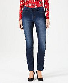 Charter Club Petite Lexington Tummy-Control Bead-Trim Jeans, Created for Macy's