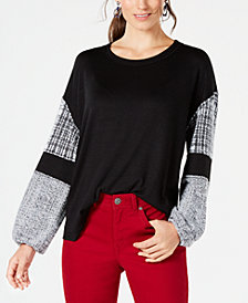 Style & Co Contrast Balloon-Sleeve Top, Created for Macy's