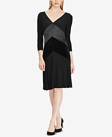 Lauren Ralph Lauren Satin-Velvet-Trim Dress