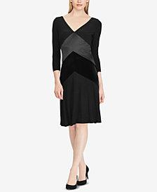 Lauren Ralph Lauren Satin-Velvet-Trim Dress