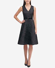 Tommy Hilfiger Belted Jacquard Fit & Flare Dress