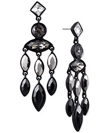 DKNY Black-Tone Crystal & Stone Chandelier Earrings, Created for Macy's