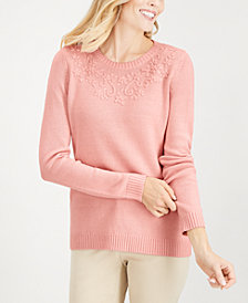 Karen Scott Tonal-Embroidered Sweater, Created for Macy's