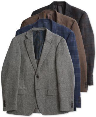 Men's Classic-Fit UltraFlex Stretch Brown/Green Tic Wool Sport Coat