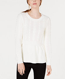 Maison Jules Embellished Peplum-Hem Sweater, Created for Macy's