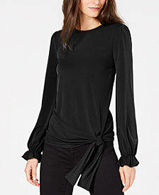MICHAEL Michael Kors Statement-Sleeve Side-Tie Blouse, In Regular & Petite Sizes