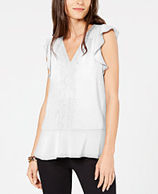 MICHAEL Michael Kors V-Neck Lace-Trim Top