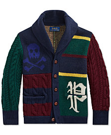 Polo Ralph Lauren Big Boys Patchwork Merino Wool Cardigan