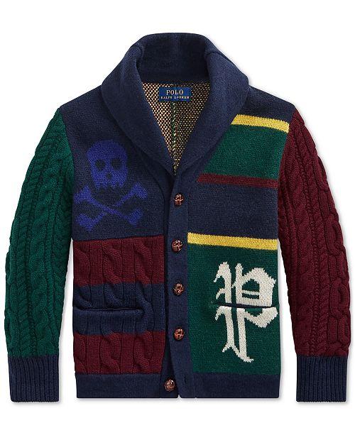 Cardigan Lauren Polo Boys Wool Ralph Toddler Patchwork Merino vb76gyYf