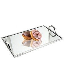 Large Rectangular Mirrored Tray with Chrome Edging and Handles