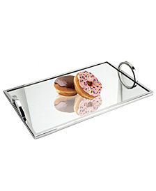 Classic Touch Large Rectangular Mirrored Tray with Chrome Edging and Handles