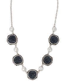 "Lucky Brand Silver-Tone Pavé, Stone & Imitation Pearl Collar Necklace, 17-1/2"" + 2"" extender"