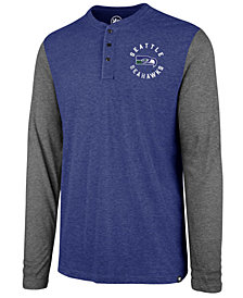 '47 Brand Men's Seattle Seahawks Retro Match Long Sleeve Henley T-Shirt