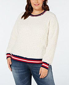 Planet Gold Plus Size Varsity-Stripe Fleece Top