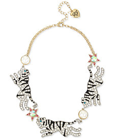 "Betsey Johnson Two-Tone Imitation Pearl Tiger Necklace, 16"" + 3"" extender"