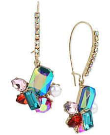 Betsey Johnson Gold-Tone Multi-Stone & Imitation Pearl Cluster Long Drop Earrings
