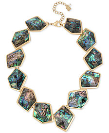 "Robert Lee Morris Soho Gold-Tone Abalone-Look Stone Collar Necklace, 17"" + 3"" extender"