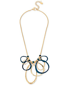 "Robert Lee Morris Soho Gold-Tone & Patina Link Statement Necklace, 18"" + 2"" extender"